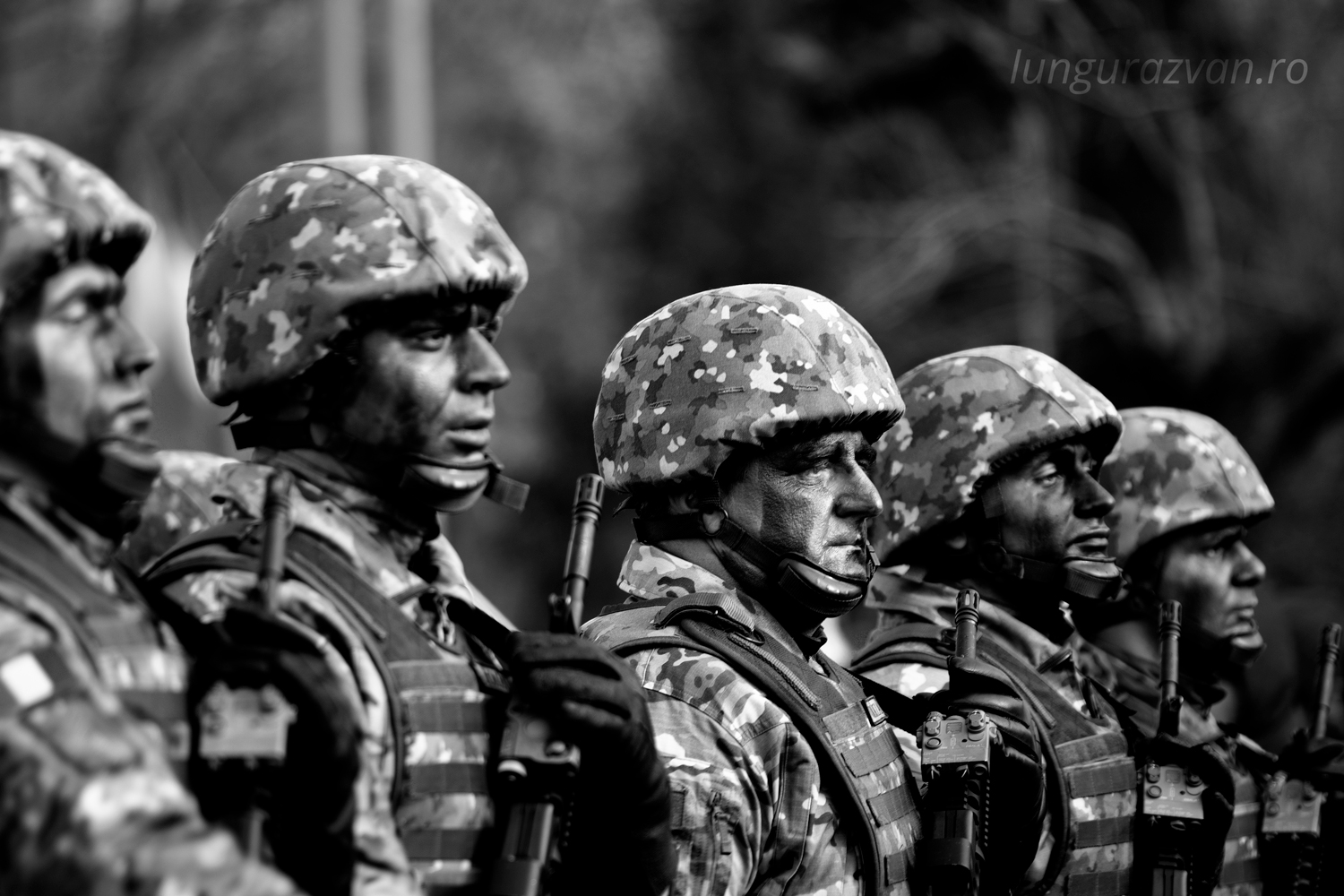 Brave Men, soldiers ready for battle in black and white