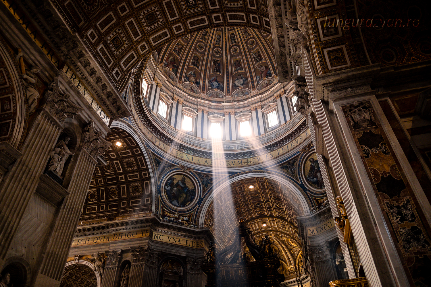 Sacred Light in St. Peter's Basilica, Light rays from above.